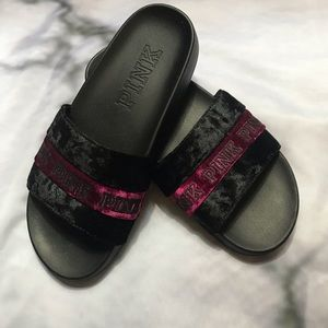 Pink by Victoria's Secret Velvet Slides